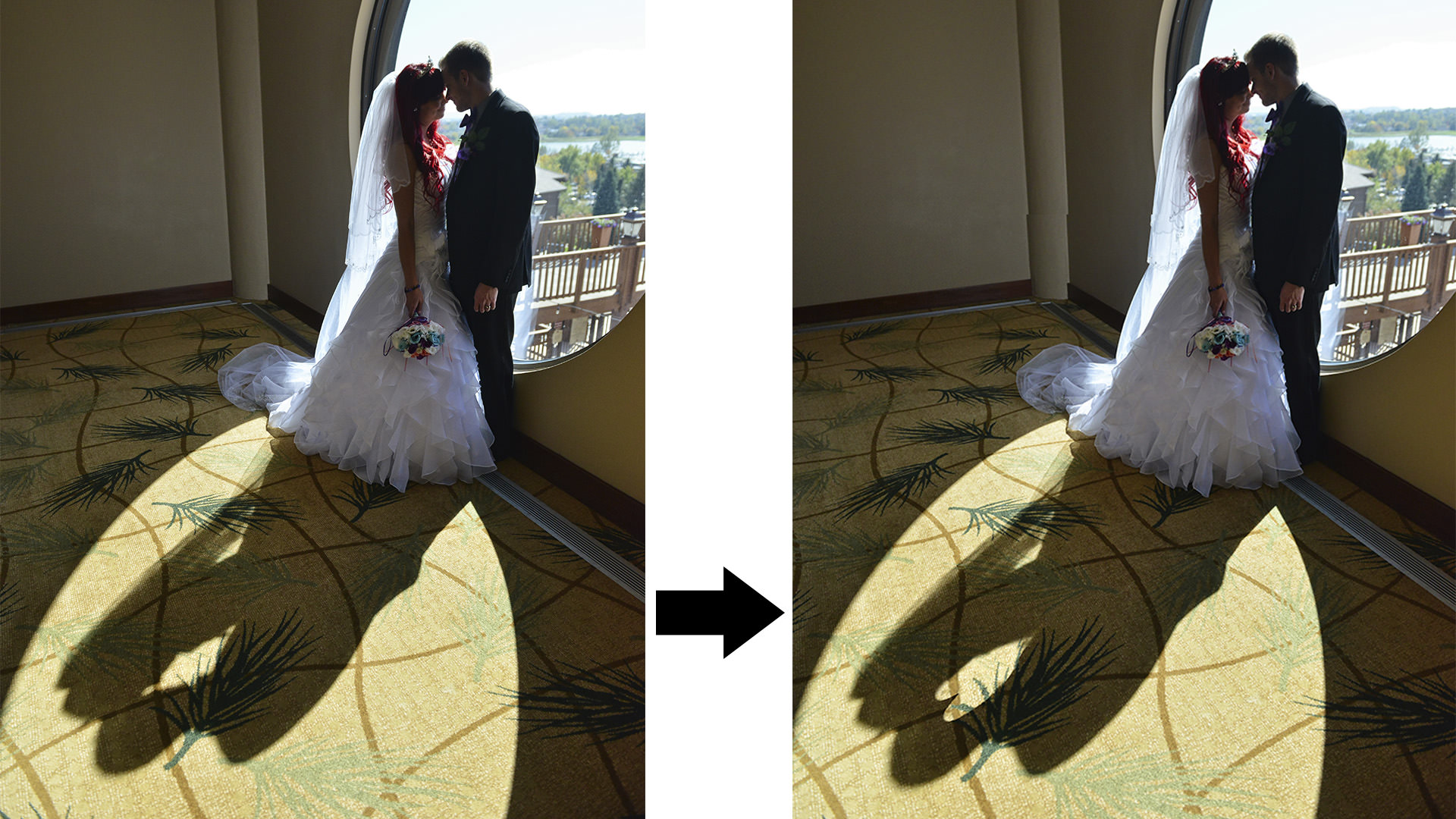 before and after photoshop of bride and groom